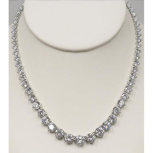 14 Ct Round Cut Diamonds Lady Necklace F Vvs1 14K White Gold Necklace