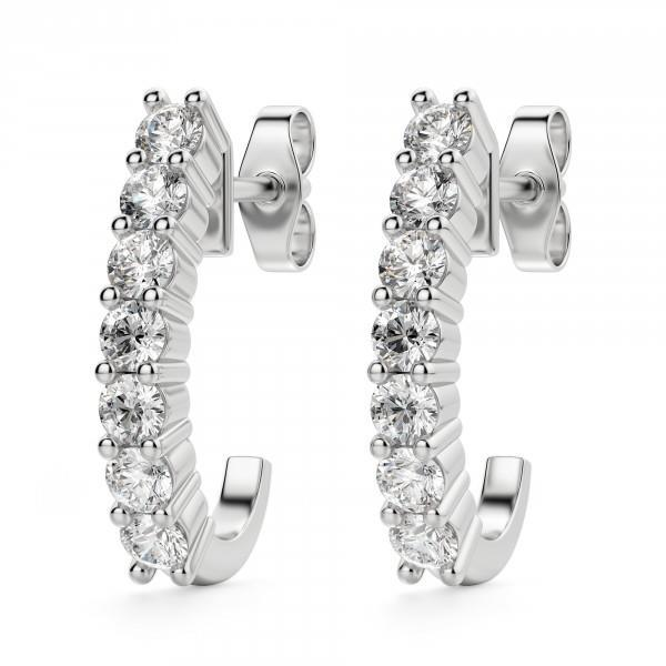 1.4 Ct Round Diamond J Hoop Earring Hoop Earrings
