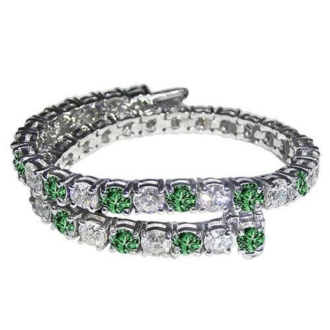 14 Ct. White Green Diamonds Tennis Bracelet White Gold Tennis Bracelet