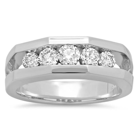 1.40 Carats Diamond Mens' Engagement Ring White Gold 14K Mens Ring