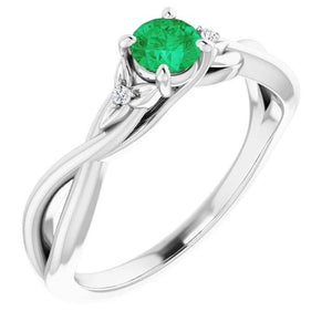1.40 Carats Green Emerald Ring Twisted Shank White Gold 14K Gemstone Ring