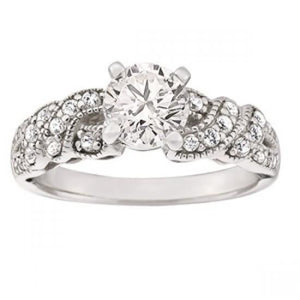1.40 Carats Prong Set Diamonds Engagement Fancy Ring White Gold 14K Engagement Ring