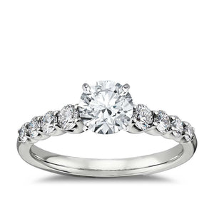 1.40 Carats Round Diamond Wedding Ring Solid White Gold 14K Solitaire With Accents Solitaire Ring with Accents