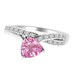 1.40 Carats Trillion Cut Pink Sapphire Diamond Ring White Gold 14K Gemstone Ring