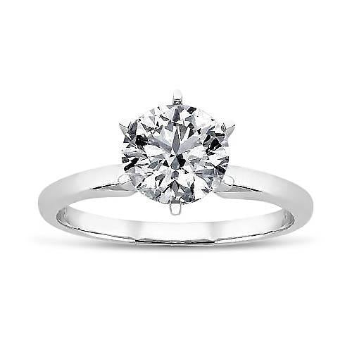 1.40 Ct Round Diamond Solitaire Wedding Ring Gold White 14K Solitaire Ring