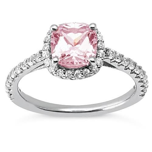 1.41 Ct Cushion Pink Diamond Anniversary Halo Ring Gemstone Gemstone Ring