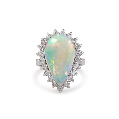 14.25 Ct Ladies Pear Opal And Round Diamonds Ring White Gold 14K Gemstone Ring