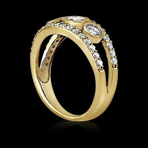 1.46 Ct Round Brilliant Diamonds Yellow Gold Ring Engagement Ring