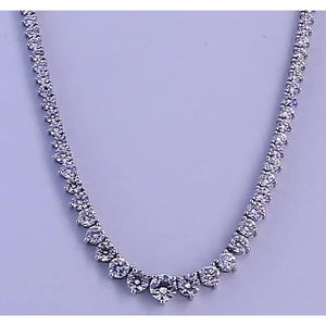 14.65 Carats Round Diamond Womens' Necklace White Gold 14K Necklace