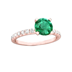 14K Rose Gold Emerald And Diamonds 3.20 Carats Engagement Ring New