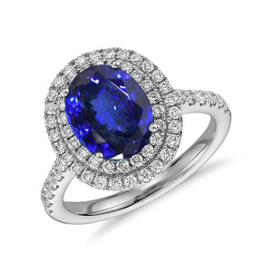 14K White Gold 7.25 Carats Tanzanite With Diamonds Ring