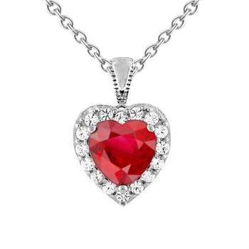 White Gold Heart Cut Red Ruby & Diamond Necklace Pendant 2.70 Carats