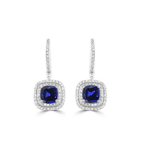 14K White Gold Lady Dangle Earrings 4.00 Ct Tanzanite With Diamonds
