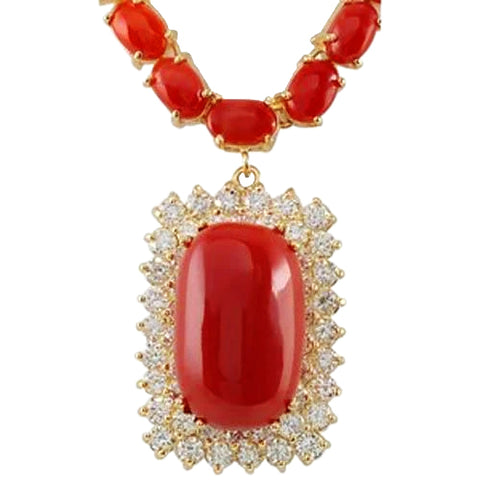 14K Yellow Gold 50.75 Ct Red Coral With Diamonds Women Necklace