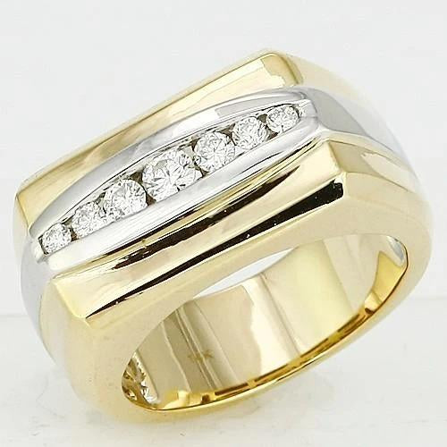 14K  0.50 Ct  Diamond Two-Tone Mens Ring Jewelry New Mens Ring