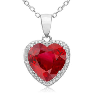 14K 11.10 Ct Red Ruby With Diamonds Pendant Necklace White Gold Gemstone Pendant