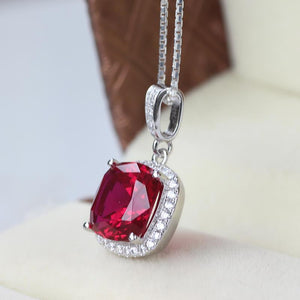 14K Gold White Red Aaa Ruby With Diamonds 8.25 Ct Pendant Necklace Gemstone Pendant