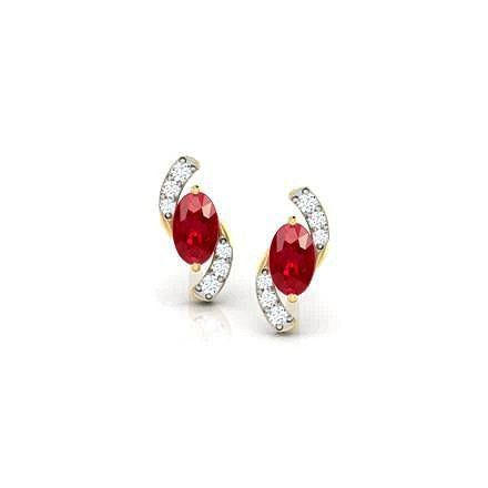 14K Ladies Studs Earrings 2.60 Carats Ruby And Diamonds New Yg Gemstone Earring