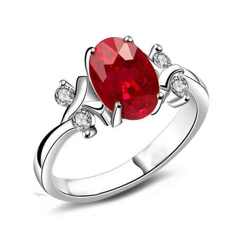 14K Prong Set 1.70 Carats Red Ruby With Diamonds Ring Gemstone Ring