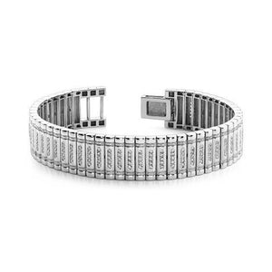14K Solid White Gold Round Diamond 7.50 Carats Mens Bracelet Sparkling Jewelry Mens Bracelet