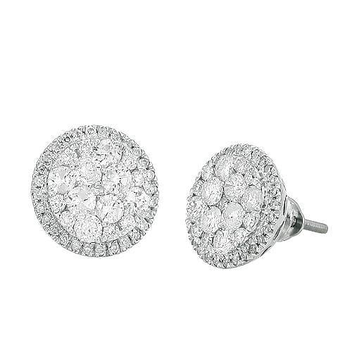 14K White Gold 1.50 Ct Diamond Luna Cluster Earrings Jewelry New Cluster Earrings