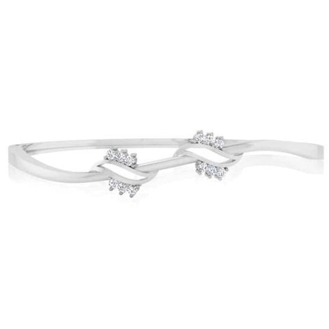 14K White Gold 1.80 Carats Round Cut Diamonds Bangle Bracelet New Bangle