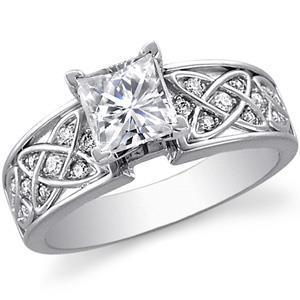 14K White Gold 2.50 Carats Princess And Round Cut Diamonds Ring New Ring