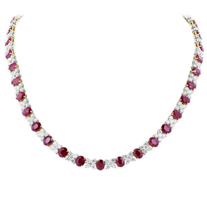 14K White Gold 32 Ct Oval Ruby With Round Diamonds Necklace New Gemstone Necklace