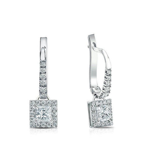 14K White Gold 3.50 Carats Diamonds Ladies Dangle Earrings New Dangle Earrings