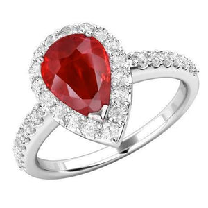 14K White Gold 3.80 Carats Red Ruby And Diamonds Wedding Ring New Gemstone Ring