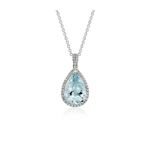 14K White Gold 9 Ct Pear Aquamarine With Diamond Pendant New Gemstone Pendant