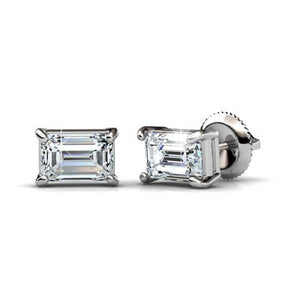 14K White Gold Emerald Cut Solitaire Diamond Stud Earring 2 Carats Stud Earrings