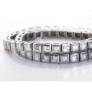 14K White Gold Jewelry Princess Cut 12 Ct Diamond Tennis Bracelet Tennis Bracelet