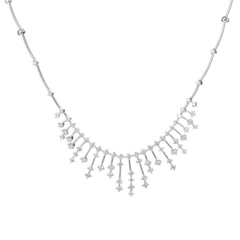 14K White Gold Ladies 4.00 Ct Round Brilliant Cut Diamonds Necklace Necklace