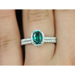 14K White Gold Ladies Emerald Diamond Ring 4.75 Carats Fine Jewelry Gemstone Ring