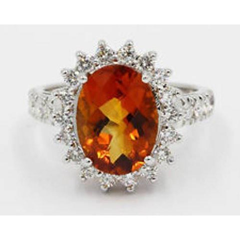14K White Gold Madeira Citrine And Diamond Ring Lady Men Jewelry Gemstone Ring