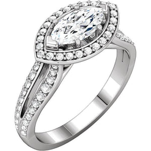 14K White Gold Marquise Halo Styled Engagement Ring Halo Ring