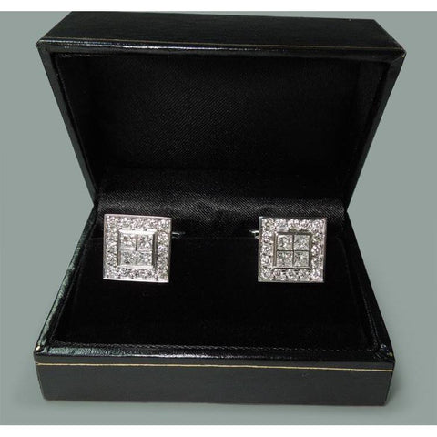 14K White Gold Men'S Cufflink Pair 3.50 Carat Diamonds Cufflinks Earrings