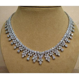 14K White Gold Pear And Round 76.00 Ct Diamonds Lady Necklace New Necklace