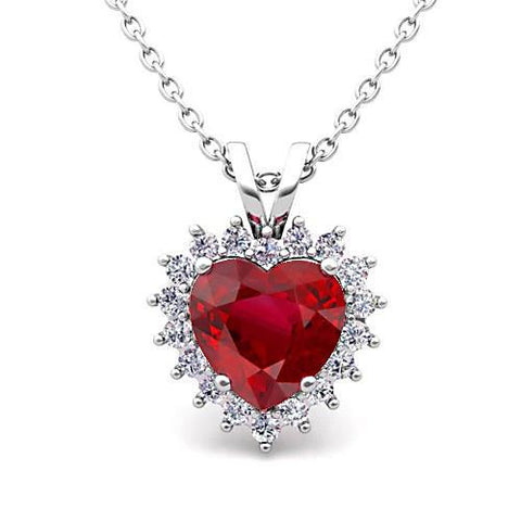 14K White Gold Pendant Necklace 5.50 Carats Red Ruby With Diamonds New Gemstone Pendant
