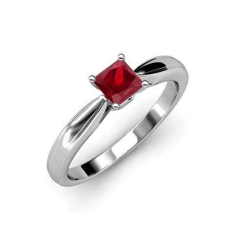 14K White Gold Princess Cut Solitaire Ruby 2.00 Carat Ring Gemstone Ring