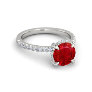 14K White Gold Prong Set Ruby And Diamonds 3.80 Carats Wedding Ring Gemstone Ring