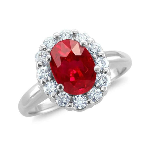 14K White Gold Red Oval Cut Ruby And Diamond Ring Lady Men Jewelry Gemstone Ring