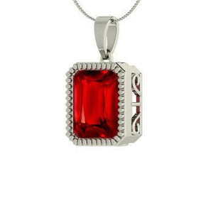 14K White Gold Red Ruby Radiant Cut 5.00 Carat Pendant Necklace New Gemstone Pendant