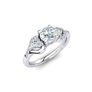 14K White Gold Round And Heart Cut 3.00 Carats Diamonds Ring New Ring