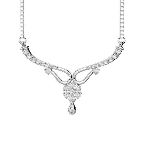 14K White Gold Round Diamond Lady Necklace Sparkling Jewelry 4 Carats Necklace