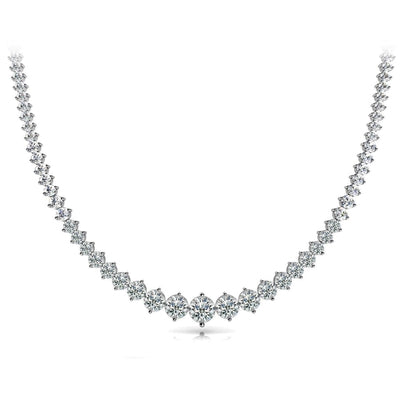14K White Gold Round Diamond Tennis Necklace Women Jewelry 11 Carats Necklace