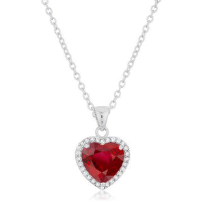 14K White Gold Ruby And Diamonds 5.40 Ct Pendant Necklace With Chain Gemstone Pendant