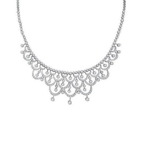 14K White Gold Small Brilliant Cut 4.00 Ct Diamonds Ladies Necklace Necklace