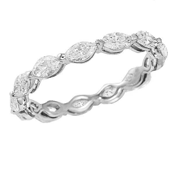 14K White Gold Women Marquise Cut Eternity Diamond Band 6.50 Carats Eternity Band